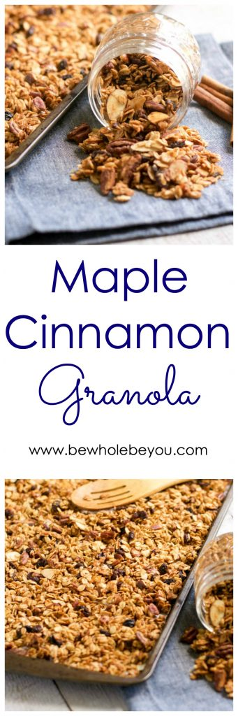 Maple Cinnamon Granola. Sweet maple and a hint of cinnamon makes this granola the perfect topping for your yogurt, smoothie bowl and more. #granola #oats #maple #cinnamon #maplecinnamon #snacking #healthysnack #snacks