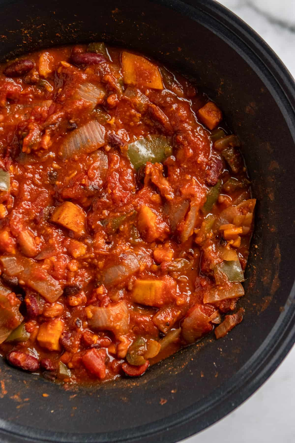 Cooked sweet potato chili in crock pot.