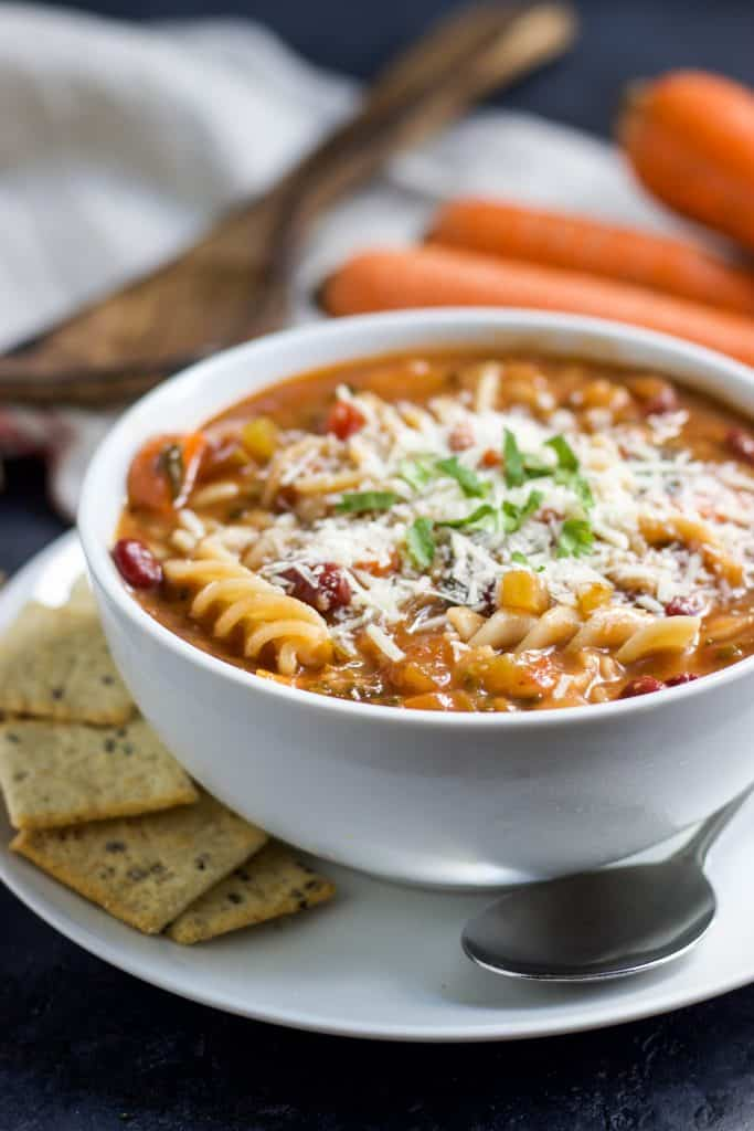 Chunky Italian Vegetable Soup. Nothing warms you up like a thick, hearty soup on cold days. This soup packs in lots of vegetables, beans and whole grain pasta. Have it with a grilled cheese or as a meal by itself! lemonsandzest.com