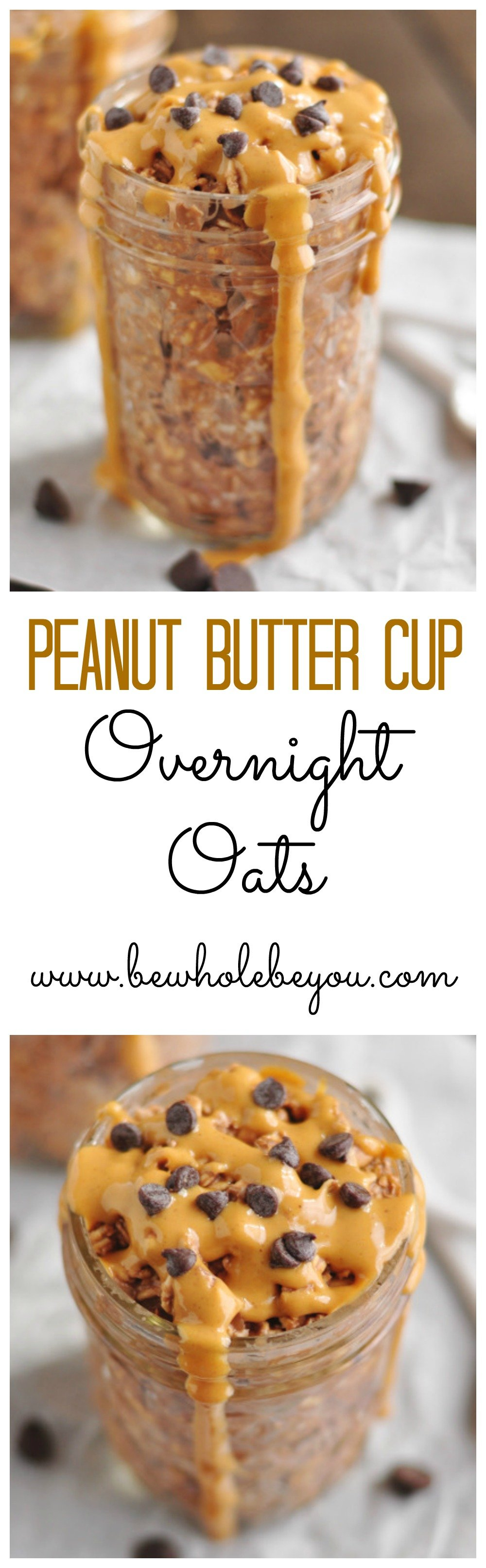A healthy breakfast in a jar? You bet! This recipe for peanut butter cup overnight oats is perfect for busy mornings. Can easily be made vegan if needed! #oats #overnightoats #masonjar #easyrecipe #vegan #peanutbutter