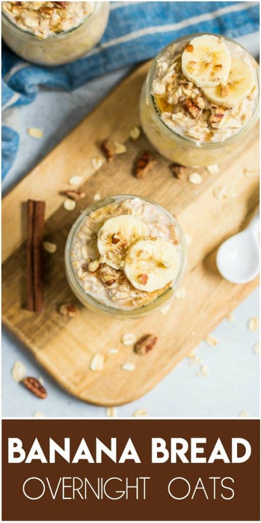 Banana Bread Overnight Oats. This easy banana bread recipe is not your typical banana bread. Make these vegan overnight oats ahead of time and breakfast is ready right when you wake up! #bananabread #oats #overnightoats #oatmeal #breakfast #easy lemonsandzest.com