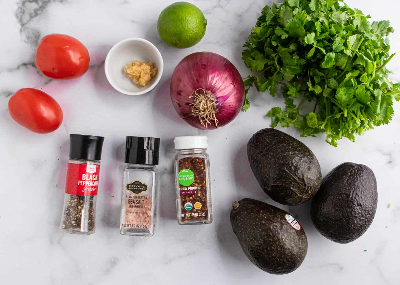 Ingredients needed to make this guacamole recipe.