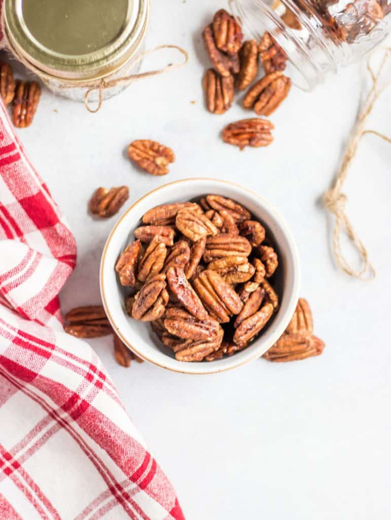 Overhead shot of maple spiced pecans.
