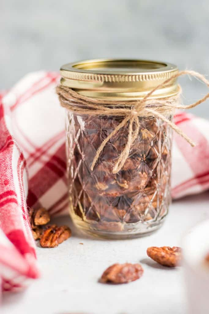 Maple Vanilla Spiced Pecans in Ball Jar with bow.