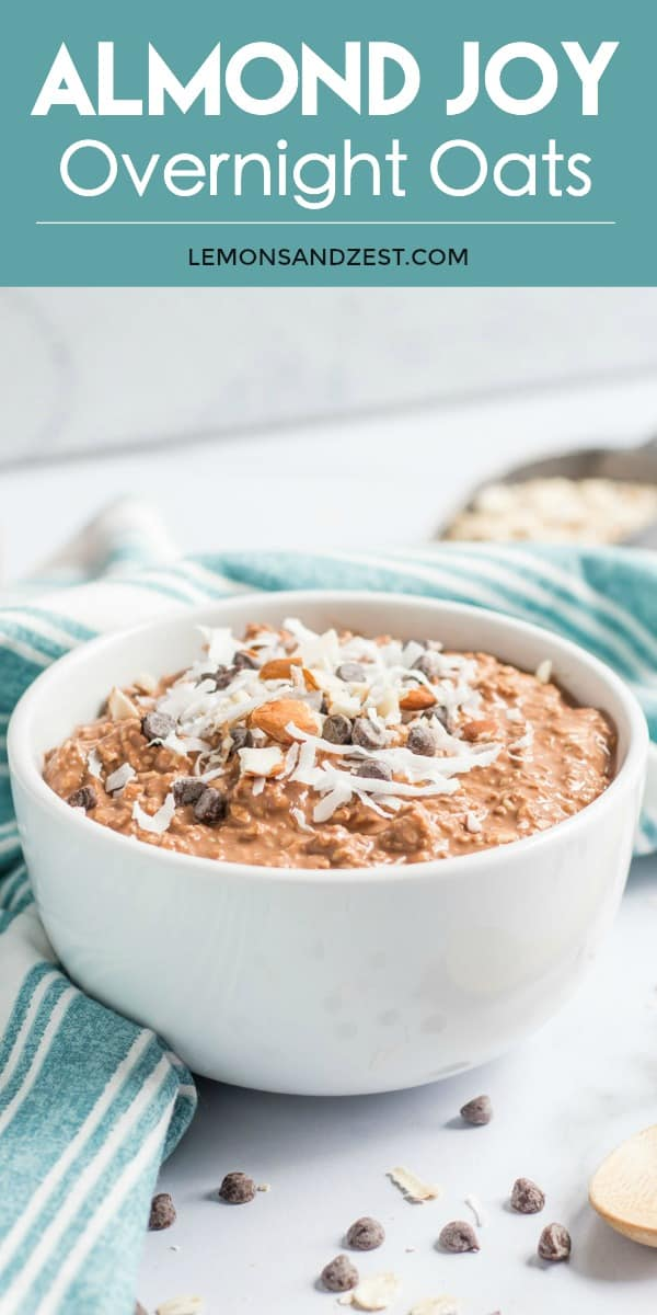 Almond, coconut and chocolate chips on top of creamy chocolate oats. Almond Joy Overnight Oats