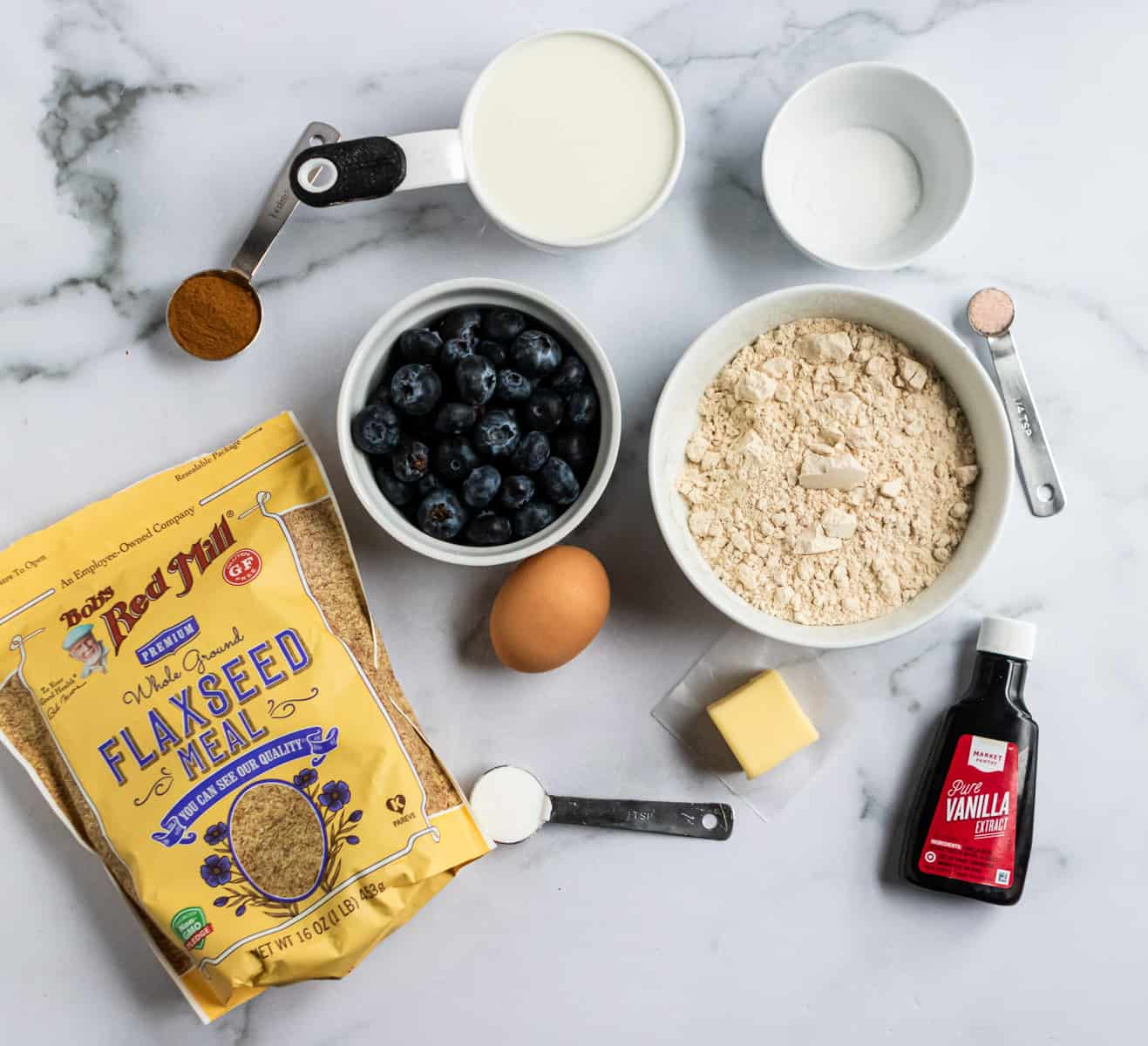 Ingredients to make whole wheat blueberry flax pancakes.