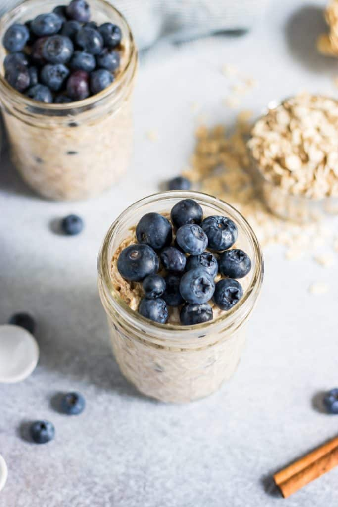 Blueberry muffin overnight oats jars.