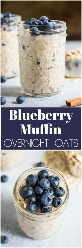 If you are a blueberry muffin fan then these simple, ready to go Blueberry Muffin Overnight Oats are for you! So easy and this recipe is make ahead so you can get a good bowl of oatmeal even on a busy morning! #blueberrymuffin #overnightoats #oatmeal #mealprep #easyrecipe #breakfast #breakfastrecipe