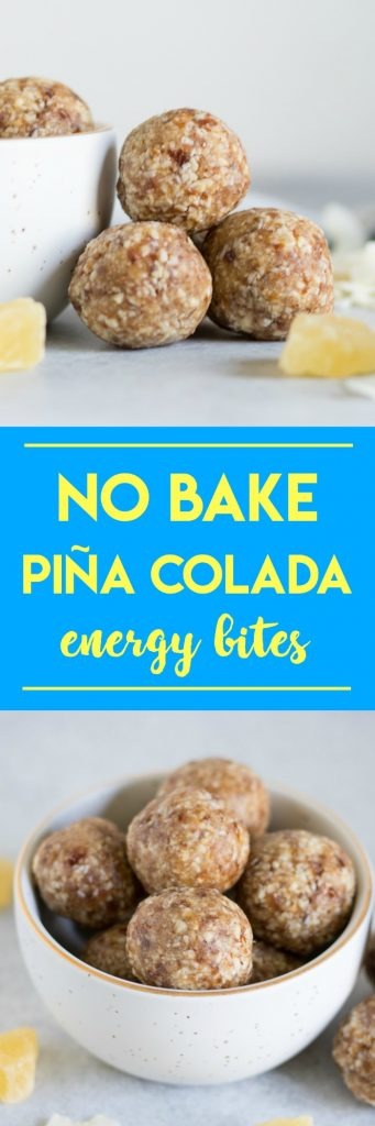 If you like Piña Coladas then these No Bake Piña Colada Energy Bites are for you! Dates, nuts, dried fruit are packed into these refreshing and tasty little bites. #nobake #pinacolada #energybites #snacks #medjooldates #macadamianuts #pineapple #coconut #recipe