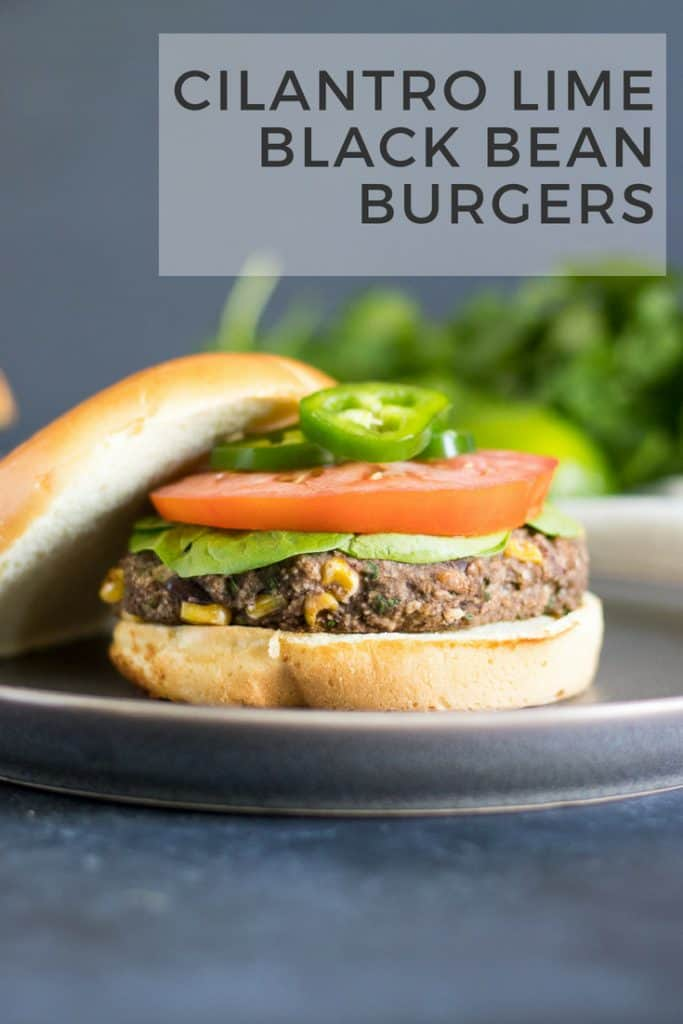 Cilantro Lime Black Bean Burgers. This easy black bean burger recipe have just the right amount of spice and the zestiness of lime. Vegetarian, but can easily be made vegan as well, these spicy burgers are the best there are! #meatlessmonday #cilantrolime #blackbeanburgers #vegetarian #bbq #vegan #spicy #recipe
