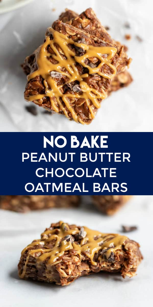 No Bake Chocolate Peanut Butter Oatmeal Bars