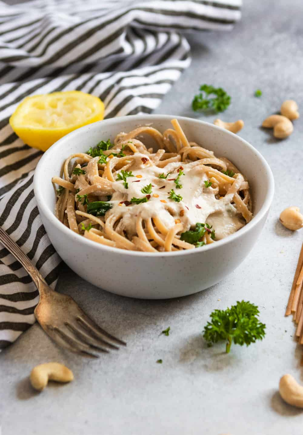 Lemon Garlic Cashew Cream Sauce with pasta.