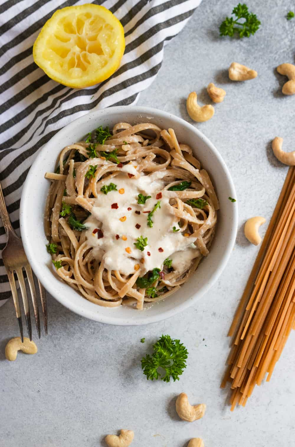 Lemon Garlic Cashew Cream Sauce over Pasta.