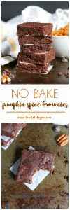 Pumpkin spice lattes aren't they only way to get your pumpkin spice in! These no bake brownies are wholesome and they taste like fall! Bewholebeyou.com