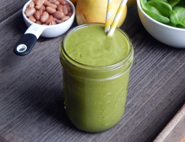 Spinach + Pear Protein Smoothie. Try a new ingredient in your smoothie to add the protein.