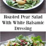 Pear salad on white plate with fork.