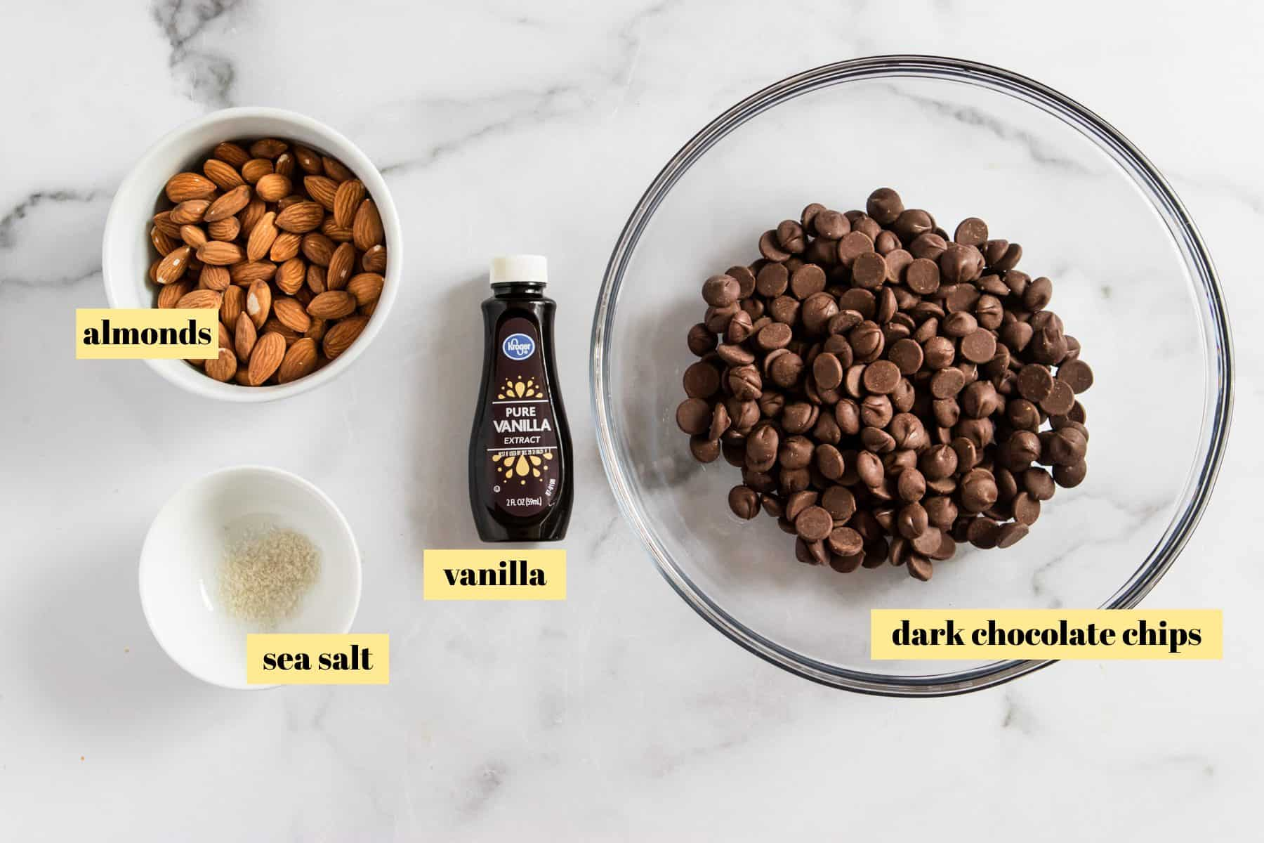Ingredients to make chocolate bark.