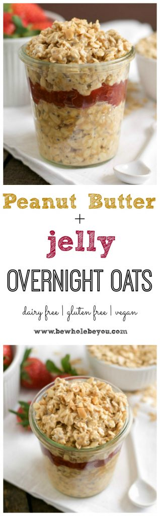 These Peanut Butter and Jelly Overnight Oats are a super simple breakfast to enjoy your favorite sandwich. Oatmeal, peanut butter and fresh strawberries layer in this healthy ready to go breakfast! #pbandj #peanutbutterandjelly #overnightoats #breakfast
