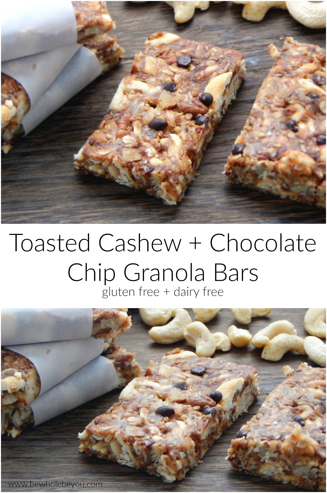 Toasted Cashew and Chocolate Chip Granola Bars