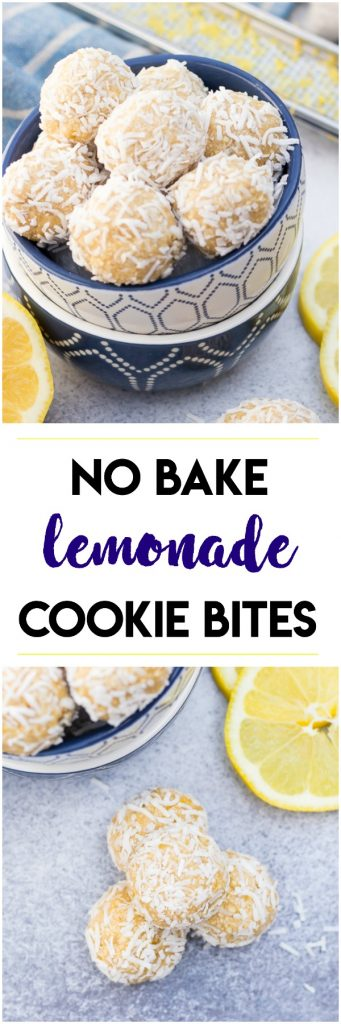 These easy No Bake Lemonade Cookie Bites are a simple healthy way to enjoy the refreshing flavor of lemon in each bite. Add a coconut coating for more flavor! Summer treats perfect year round as well! #lemonade #lemon #nobake #nobaketreat