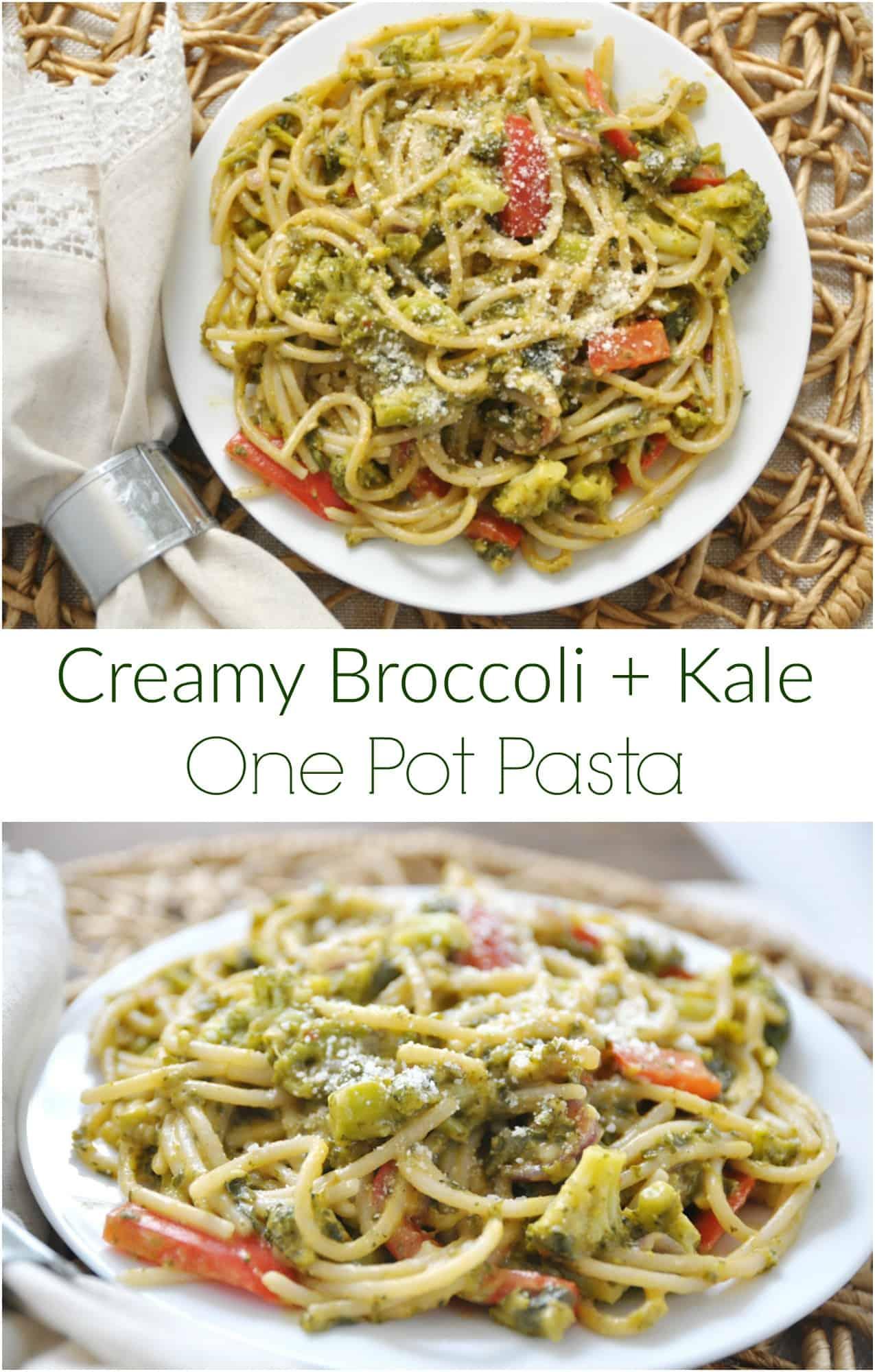 Creamy Borccoli Kale One Pot Pasta