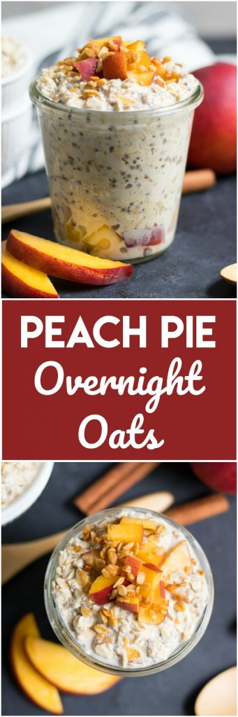 These Peach Pie Overnight Oats are a simple make ahead breakfast that will be waiting for you in the morning. Easy as pie!