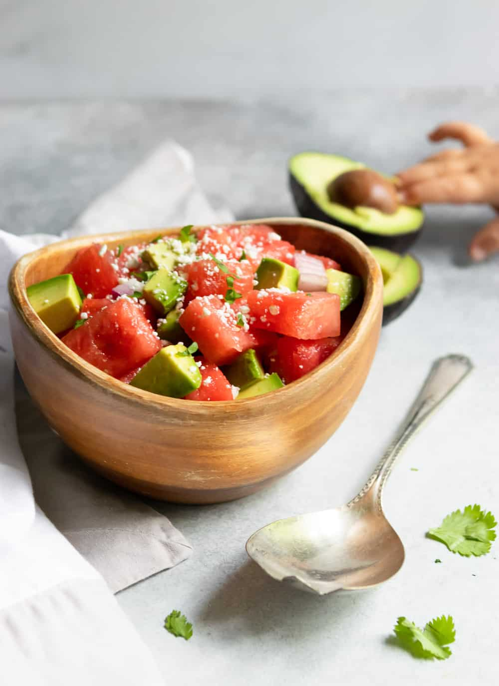 Watermelon Avocado Salad with Feta.
