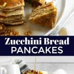 Zucchini oat flour pancakes with fork.