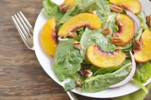 Maple Roasted Peach, Quinoa + Spinach Salad