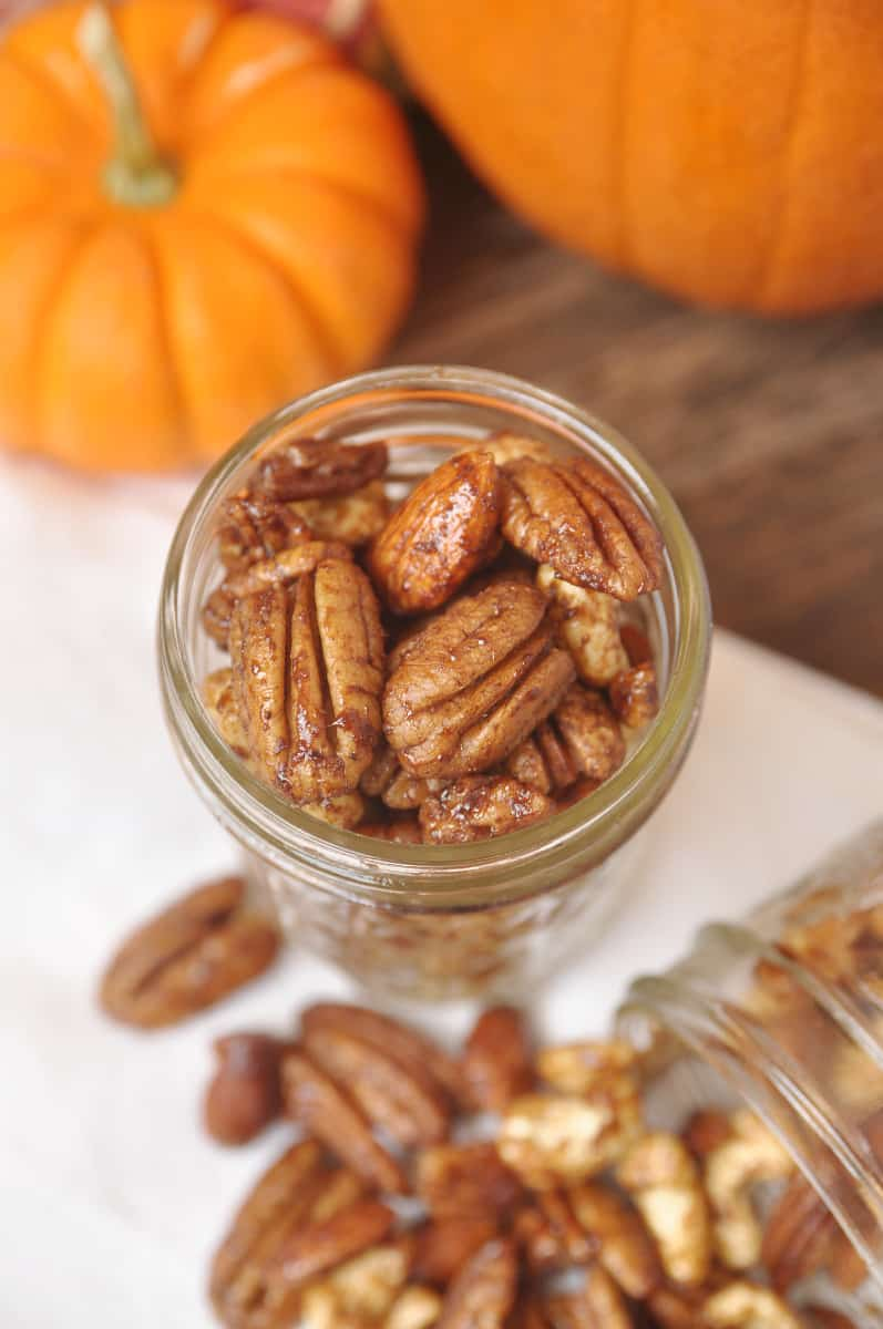 Slow Cooker Pumpkin Spice Pecans, Almonds + Cashews