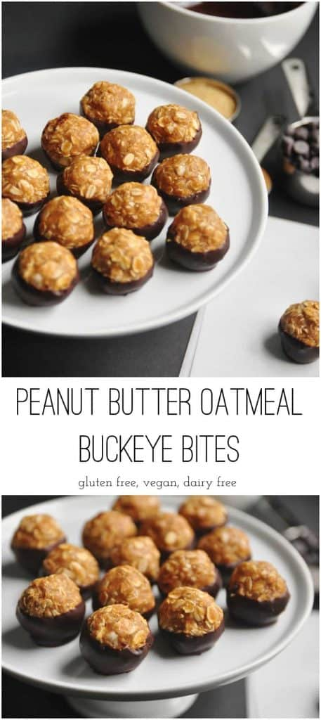 Peanut Butter Oatmeal Buckeye Bites. Peanut butter and chocolate are the perfect duo. Add hearty oats to the mix and you ahve the perfect sweet and salty mix. #buckeyes #peanutbutter #chocolate #snacking #oatmeal