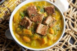 White Bean, Kale + Roasted Butternut Squash Soup