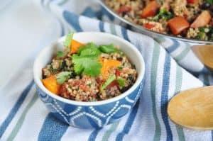 Roasted Sweet Potato, Black Bean + Kale Mexican Quinoa