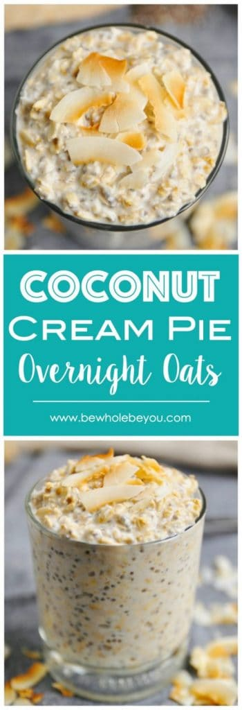 Coconut Cream Pie Overnight Oats. Coconut cream pie for breakfast! These overnight oats are packed with goodness and tastes like pie. #overnightoats #coconut #coconutcreampie