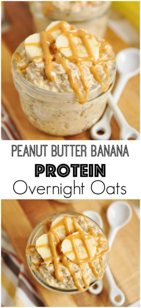 Peanut Butter and Banana Protein Overnight Oats are the perfect simple healthy breakfast. This protein packed ready to go breakfast will keep you going all morning! #overnightoats #oats #oatmeal #breakfast #mealprep #peanutbutter #banana