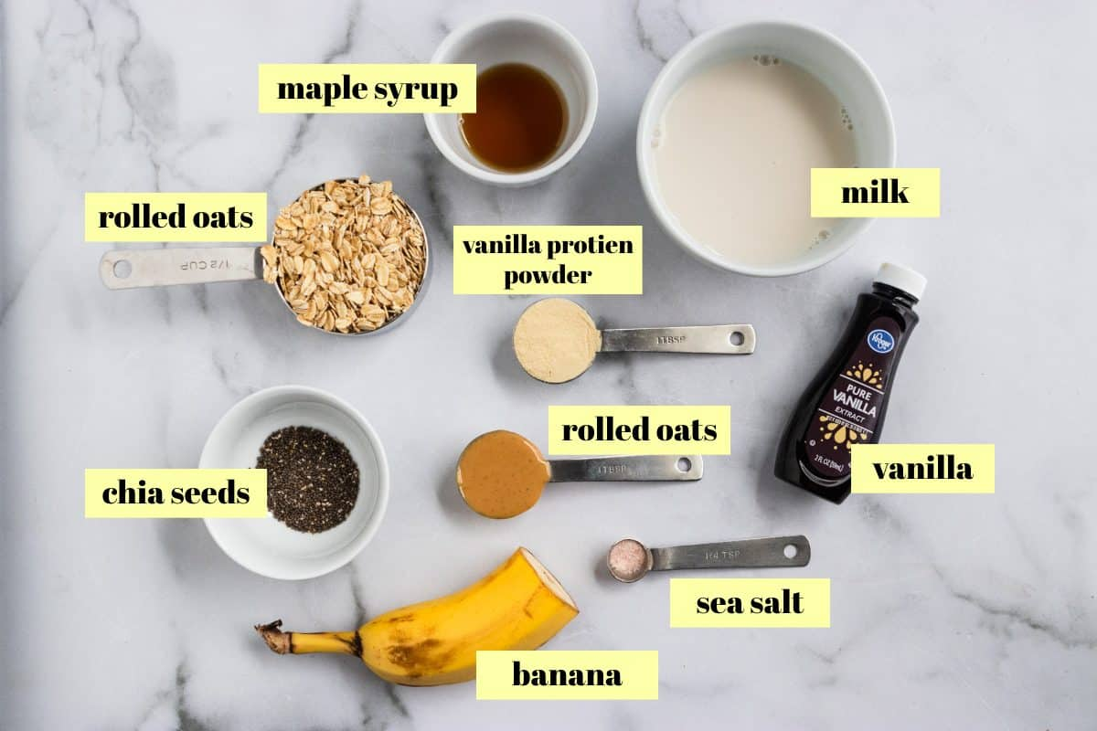 Ingredient list of peanut butter banana protein overnight oats.