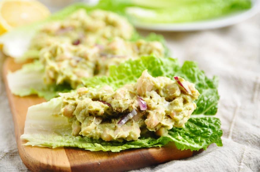 Mashed Avocado + White Bean Lettuce Wraps