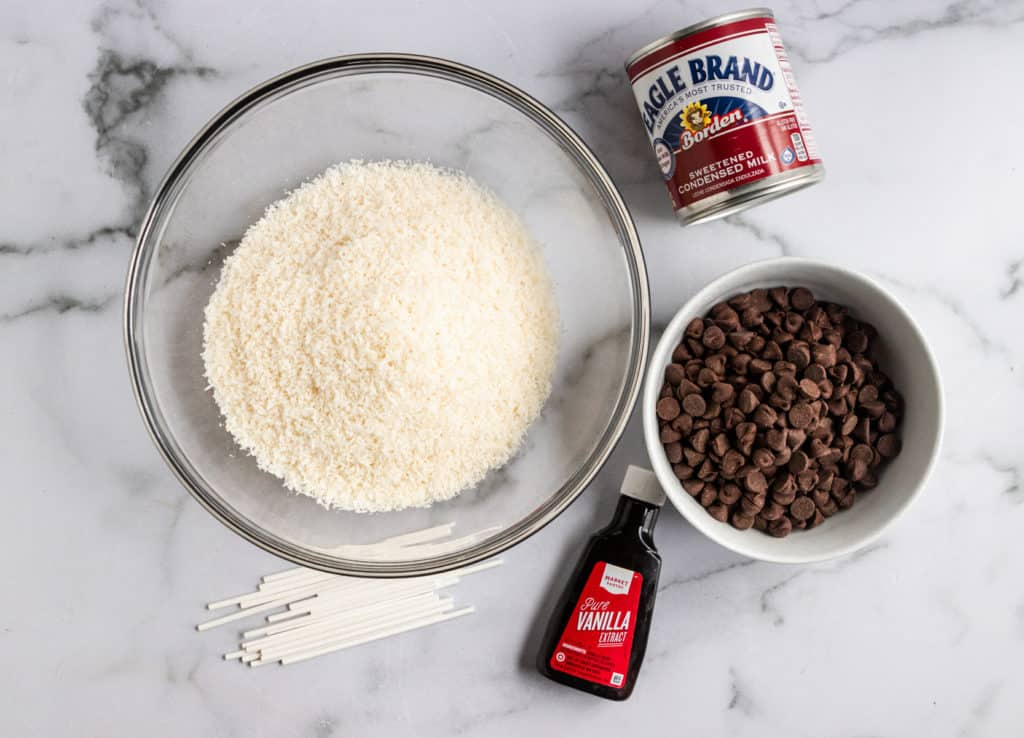 Ingredients to make coconut truffle pops.