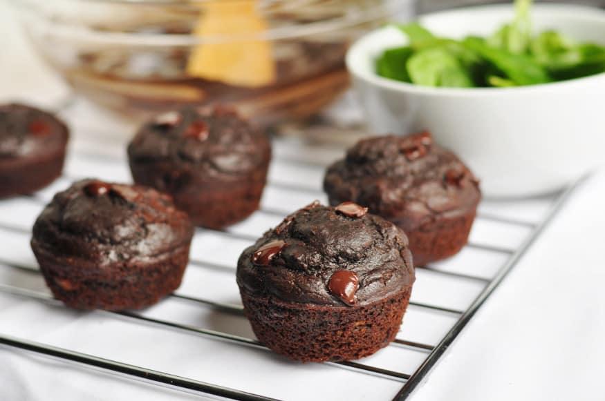 Green Smoothie Chocolate Muffins