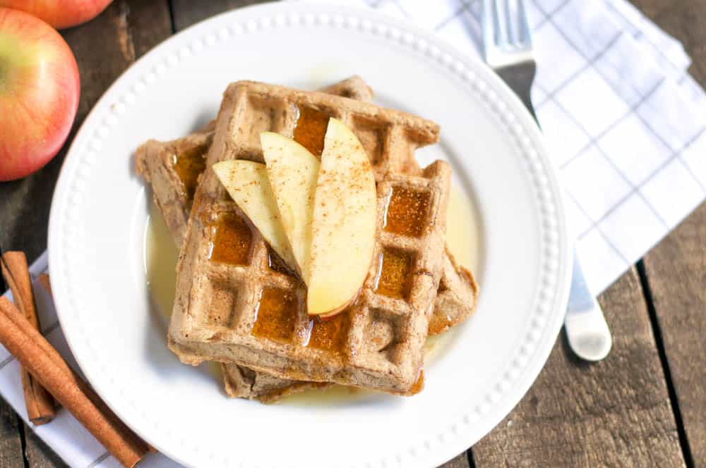 Vegan Apple Cinnamon Oatmeal Waffles