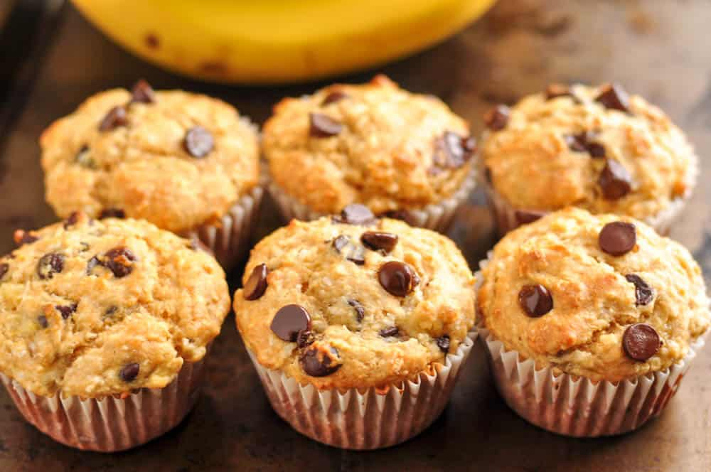 Coconut Banana Chocolate Chip Muffins