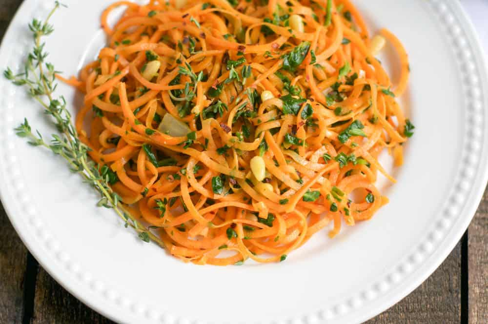 Sweet Potato Noodles with Chopped Spinach And Thyme