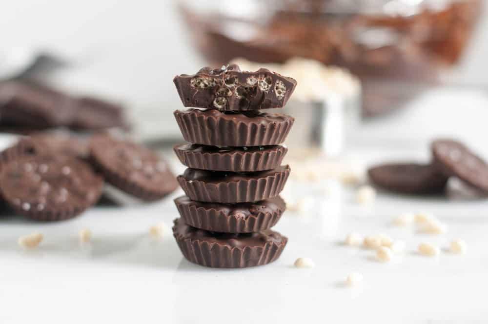 3 Ingredient Dark Chocolate Sea Salt Crispy Cups