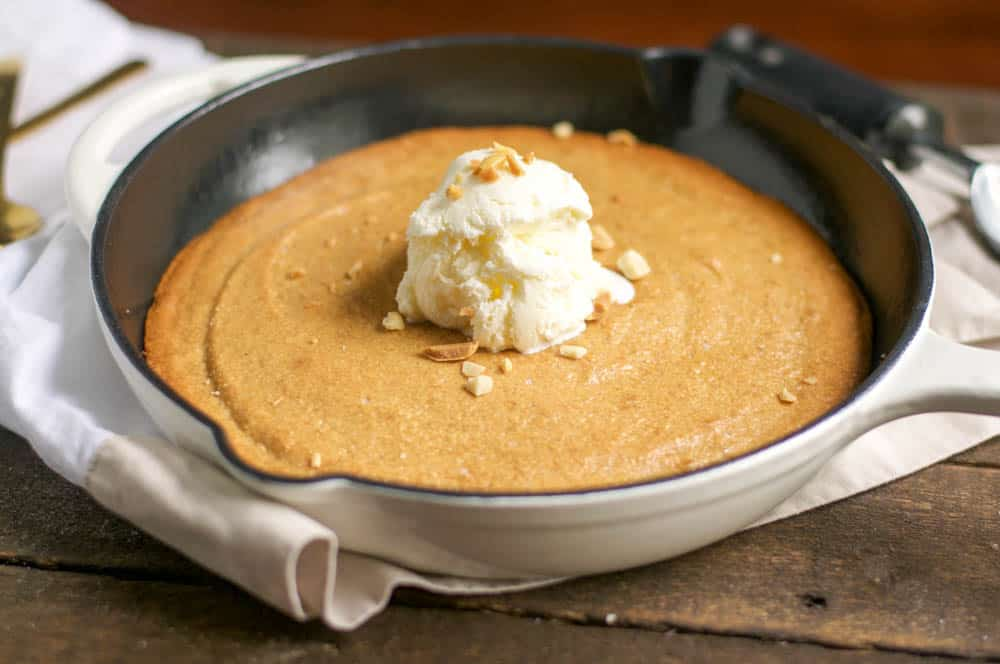 Salted Peanut Butter Skillet Cookie