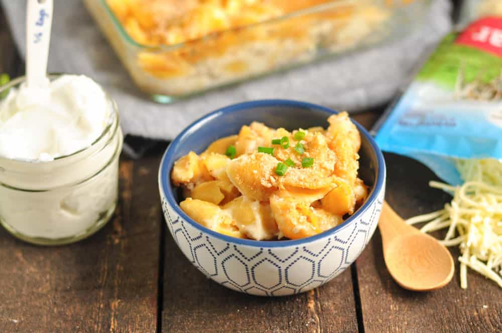 Protein Packed Baked Mac + Cheese