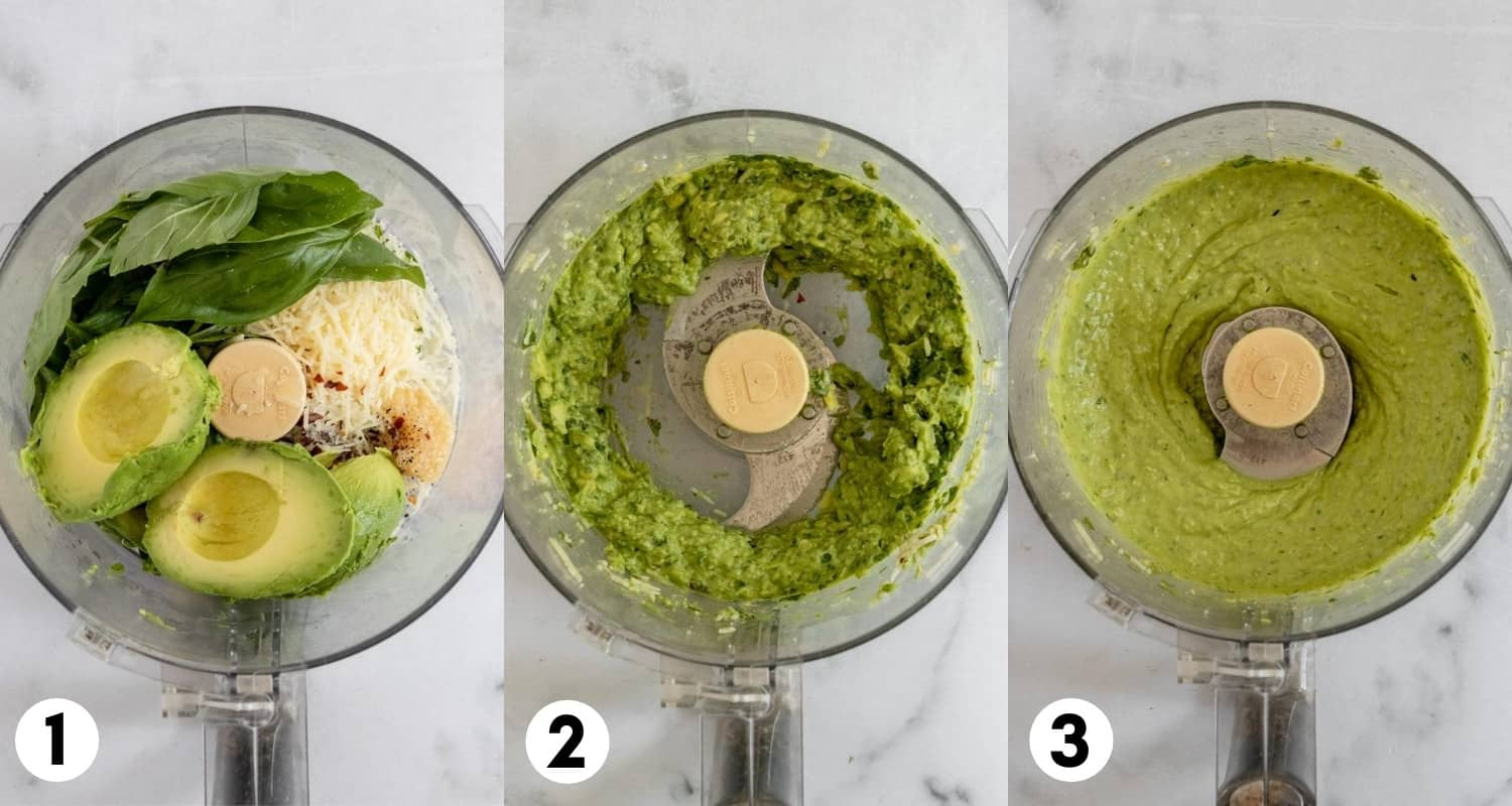 Avocado, basil and other ingredients in food processor.