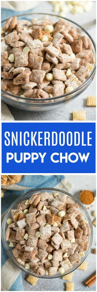 This Snickerdoodle Puppy Chow is the perfect cinnamon sweet Chex mix snack to please a crowd. Super simple and perfect for an afternoon snack, the game day spread and more! #snickerdoodle #chexmix #chex #puppychow #muddybuddies