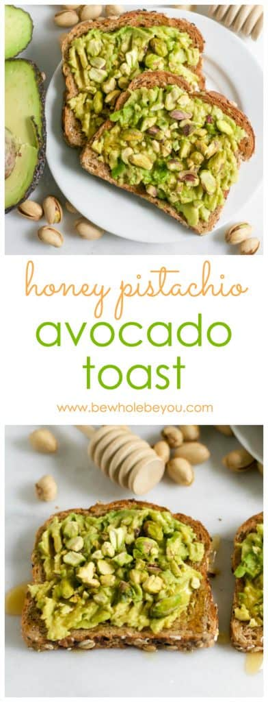 Your avocado toast just got 100 times better. This sweet and salty version shakes things up. Pistachios and honey will have you coming back for more. Every single day! Bewholebeyou.com