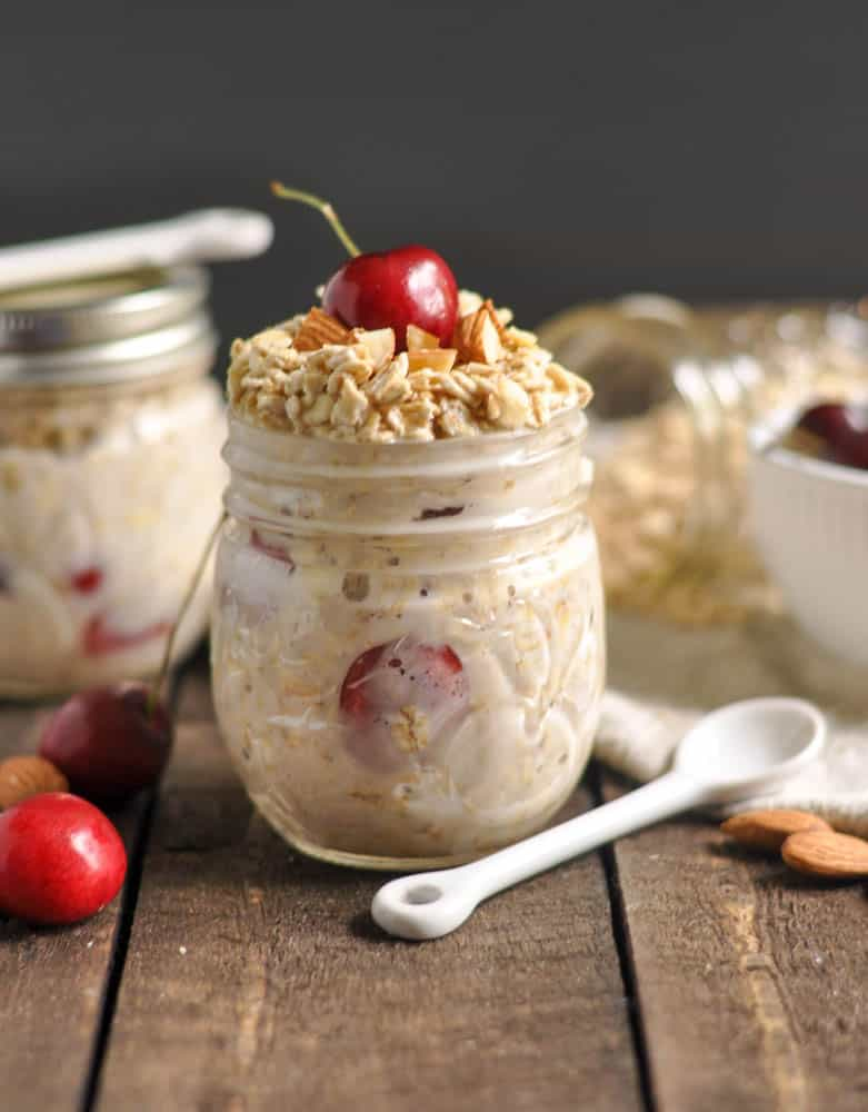Cherry Almond Overnight Oats. Be Whole. Be You. Breakfast of champs that you make ahead of time! Plump, juicy cherries and almonds in a hearty oatmeal breakfast. Switch up your boring oats! lemonsandzest.com