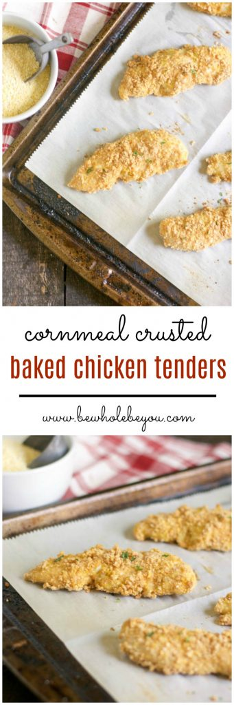 Cornmeal crusted chicken tenders are such a simple dinner option. You can freeze them and pull them out for an even easier meal! Bewholebeyou.com
